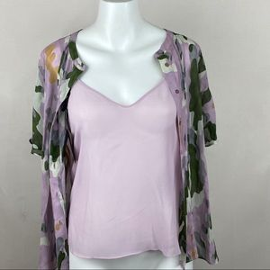 Massimo Dutti top button front camo with cami tank